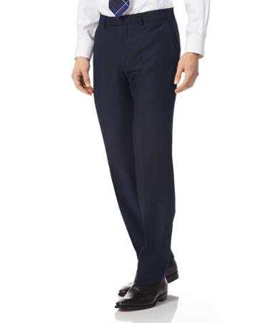 Navy Classic Fit Textured Italian Suit Wool Pants Size W32 L30 By Charles Tyrwhitt