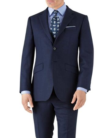 Charles Tyrwhitt Royal Slim Fit Flannel Business Suit Wool Jacket Size 36 By Charles Tyrwhitt