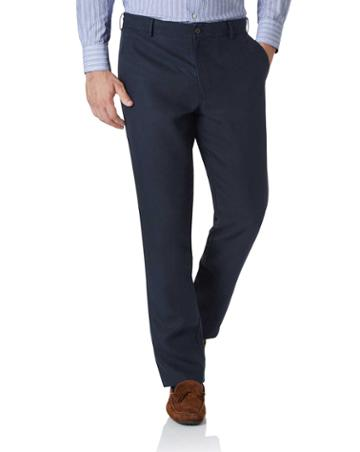 Navy Extra Slim Fit Easy Care Linen Tailored Pants Size W30 L30 By Charles Tyrwhitt