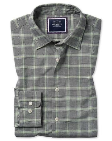 Slim Fit Grey Prince Of Wales Check Cotton With Tencel™ Single Cuff Size Large By Charles Tyrwhitt