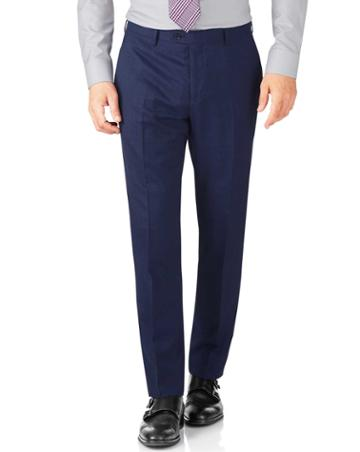 Charles Tyrwhitt Indigo Slim Fit End-on-end Business Suit Wool Pants Size W30 L38 By Charles Tyrwhitt