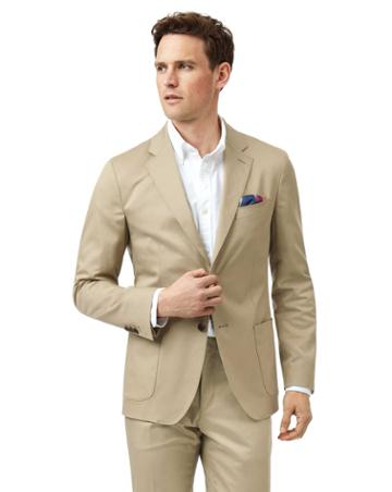 Stone Slim Fit Cotton Suit Jacket By Charles Tyrwhitt