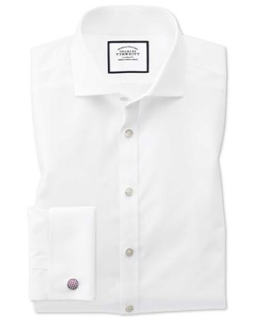 Charles Tyrwhitt Super Slim Fit Spread Collar Non-iron Poplin White Cotton Dress Shirt French Cuff Size 14.5/32 By Charles Tyrwhitt