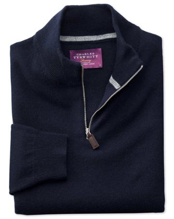 Charles Tyrwhitt Navy Cashmere Zip Neck Sweater Size Large By Charles Tyrwhitt