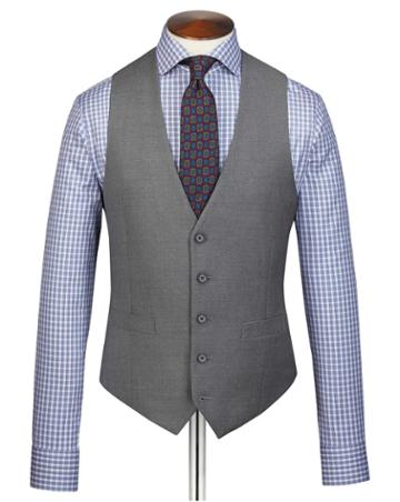 Grey Adjustable Fit Twill Business Suit Wool Vest Size W36 By Charles Tyrwhitt