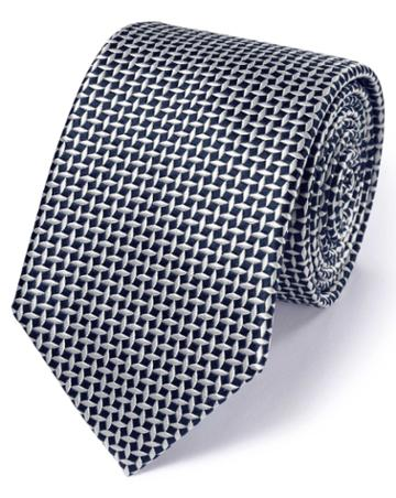 Charles Tyrwhitt Navy Silk Classic Diamond Lattice Tie By Charles Tyrwhitt