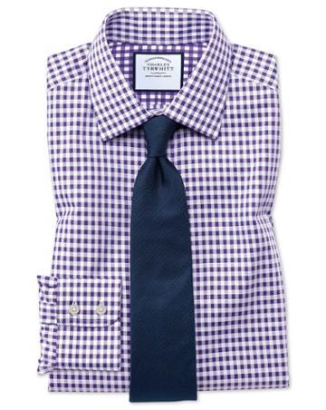 Charles Tyrwhitt Slim Fit Non-iron Gingham Purple Cotton Dress Shirt Single Cuff Size 15/33 By Charles Tyrwhitt