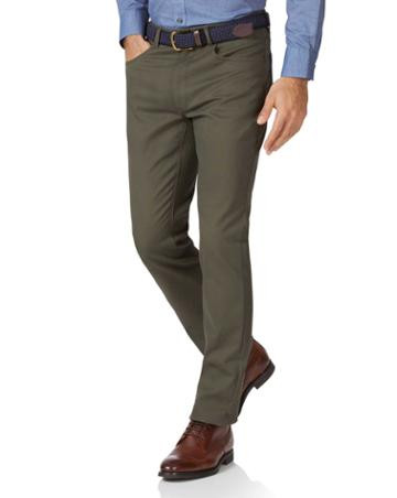 Olive Slim Fit 5 Pocket Bedford Corduroy Cotton Tailored Pants Size W30 L30 By Charles Tyrwhitt