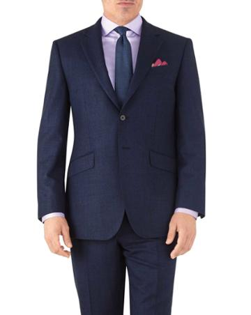 Charles Tyrwhitt Royal Classic Fit Flannel Business Suit Wool Jacket Size 38 By Charles Tyrwhitt