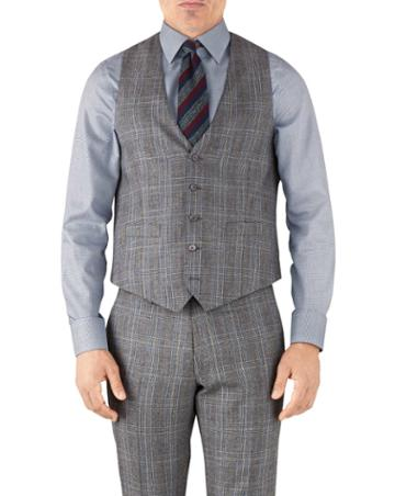 Charles Tyrwhitt Silver Prince Of Wales Adjustable Fit Flannel Business Suit Wool Vest Size W38 By Charles Tyrwhitt