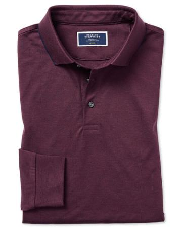 Wine Cotton Cotton Tencel Polo With Tencel Size Medium By Charles Tyrwhitt
