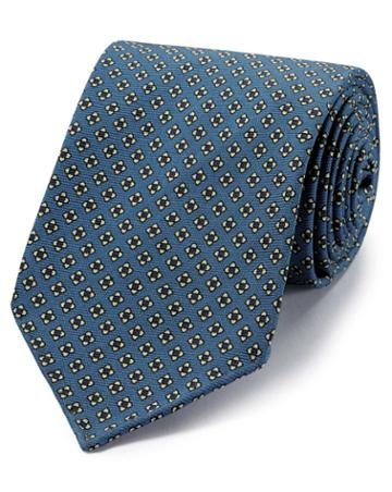 Blue And White Geometric Luxury English Hand Rolled Silk Tie By Charles Tyrwhitt