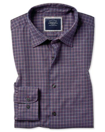 Slim Fit Purple Check Cotton With Tencel™ Single Cuff Size Large By Charles Tyrwhitt