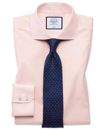Extra Slim Fit Non-iron Tyrwhitt Cool Poplin Peach Cotton Dress Shirt Single Cuff Size 14.5/33 By Charles Tyrwhitt
