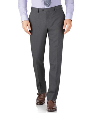 Charles Tyrwhitt Silver Slim Fit Crepe Business Suit Wool Pants Size W30 L38 By Charles Tyrwhitt