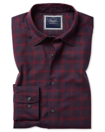 Classic Fit Burgundy Check Cotton With Tencel™ Single Cuff Size Large By Charles Tyrwhitt