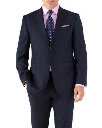 Charles Tyrwhitt Navy Classic Fit Peak Lapel Twill Business Suit Wool Jacket Size 38 By Charles Tyrwhitt
