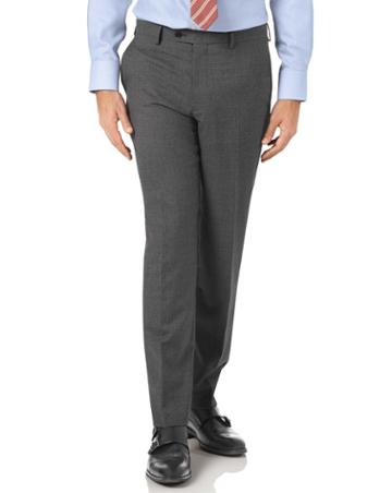 Charles Tyrwhitt Charcoal Slim Fit Panama Puppytooth Business Suit Wool Pants Size W30 L38 By Charles Tyrwhitt