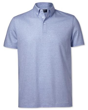 Sky Blue Cotton Linen Polo Size Large By Charles Tyrwhitt