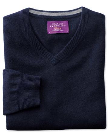 Charles Tyrwhitt Navy Cashmere V-neck Sweater Size Large By Charles Tyrwhitt