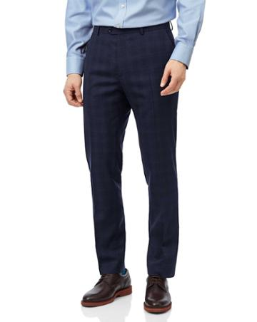 Midnight Blue Check Slim Fit Suit Trouser Size W30 L30 By Charles Tyrwhitt