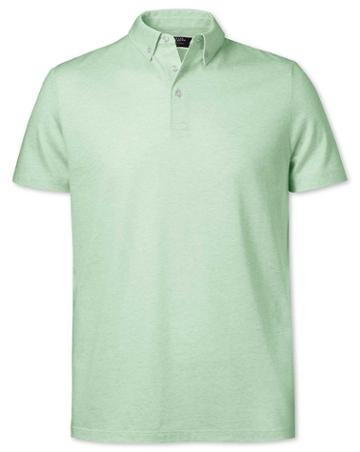 Light Green Cotton Linen Polo Size Large By Charles Tyrwhitt