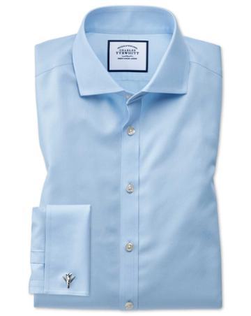 Charles Tyrwhitt Super Slim Fit Spread Collar Non-iron Twill Blue Cotton Dress Shirt French Cuff Size 14.5/32 By Charles Tyrwhitt