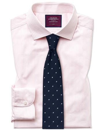 Slim Fit Luxury Stripe Pink Egyptian Cotton Dress Shirt Single Cuff Size 15/33 By Charles Tyrwhitt