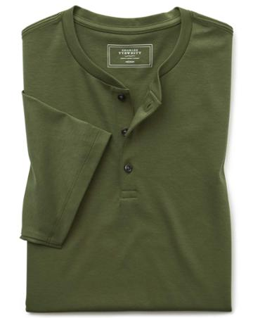 Olive Short Sleeve Henley T-casual Shirt By Charles Tyrwhitt