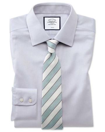 Classic Fit Non-iron Grey Triangle Weave Cotton Dress Shirt Single Cuff Size 15/34 By Charles Tyrwhitt