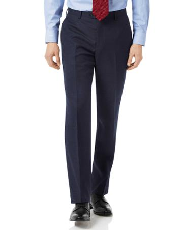 Navy Classic Fit Jaspe Business Suit Wool Pants Size W32 L30 By Charles Tyrwhitt