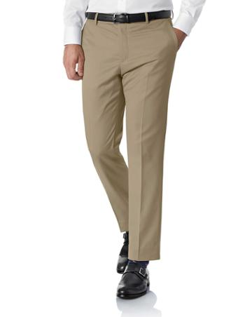 Tan Slim Fit Italian Wool Tailored Pants Size W32 L30 By Charles Tyrwhitt