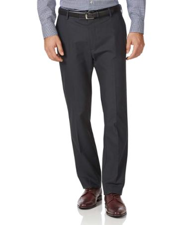 Charcoal Classic Fit Stretch Non-iron Cotton Tailored Pants Size W32 L30 By Charles Tyrwhitt