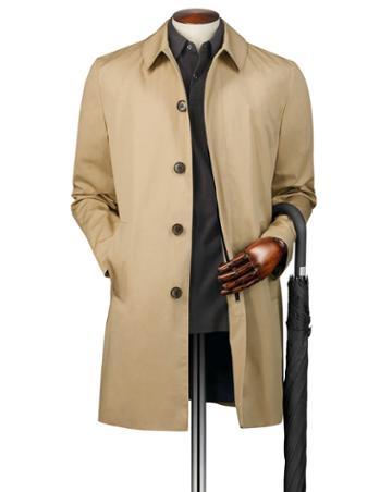 Stone Cotton Raincotton Coat Size 36 By Charles Tyrwhitt