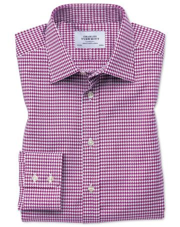 Charles Tyrwhitt Slim Fit Large Puppytooth Berry Cotton Dress Casual Shirt Single Cuff Size 14.5/33 By Charles Tyrwhitt