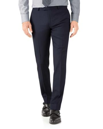 Charles Tyrwhitt Navy Herringbone Slim Fit Italian Suit Wool Pants Size W30 L38 By Charles Tyrwhitt