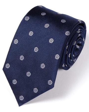 Navy And White Silk English Rose Classic Tie By Charles Tyrwhitt