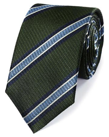 Green And Sky Silk Textured Stripe Classic Tie By Charles Tyrwhitt