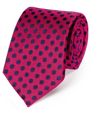 Charles Tyrwhitt Pink And Navy Silk Large Spot Classic Tie By Charles Tyrwhitt