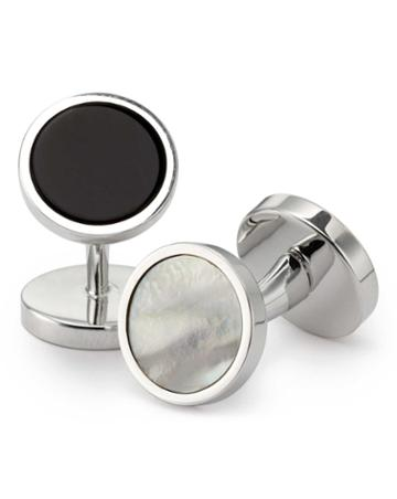 Charles Tyrwhitt Charles Tyrwhitt Mother-of-pearl And Onyx Evening Silver Cuff Links