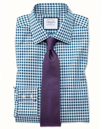 Charles Tyrwhitt Extra Slim Fit Non-iron Gingham Teal Cotton Dress Shirt Single Cuff Size 14.5/33 By Charles Tyrwhitt
