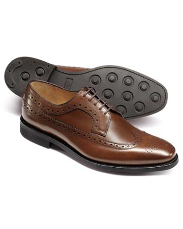 Chestnut Goodyear Welted Derby Wing Tip Brogue Shoes Size 11.5 By Charles Tyrwhitt