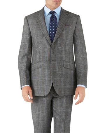 Charles Tyrwhitt Silver Prince Of Wales Classic Fit Flannel Business Suit Wool Jacket Size 38 By Charles Tyrwhitt