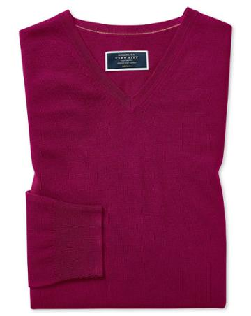 Dark Pink Merino V Neck 100percent Merino Wool Sweater Size Medium By Charles Tyrwhitt