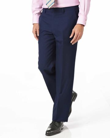 Charles Tyrwhitt Indigo Blue Classic Fit Panama Puppytooth Business Suit Wool Pants Size W32 L32 By Charles Tyrwhitt