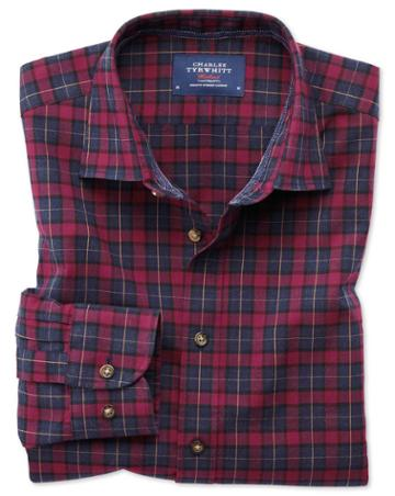 Charles Tyrwhitt Classic Fit Heather Tartan Burgundy And Navy Blue Check Cotton Casual Shirt Single Cuff Size Large By Charles Tyrwhitt