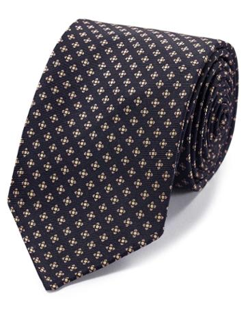 Navy And Pink Geometric Luxury English Hand Rolled Silk Tie By Charles Tyrwhitt