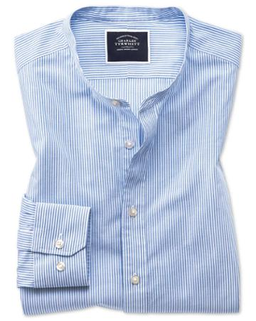 Slim Fit White And Sky Blue Stripe Collarless Cotton Casual Shirt Single Cuff Size Large By Charles Tyrwhitt