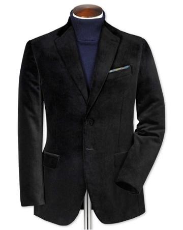 Charles Tyrwhitt Slim Fit Black Velvet Cotton Blazer Size 36 By Charles Tyrwhitt