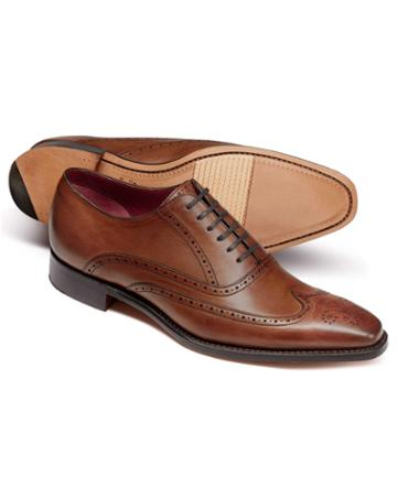Chestnut Made In England Oxford Brogue Flex Sole Shoes Size 11.5 By Charles Tyrwhitt